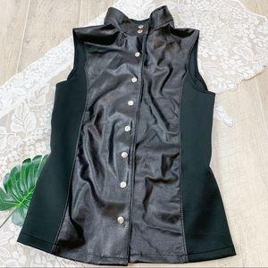 Weissman Black Sleeveless Button Down Shirt  1792